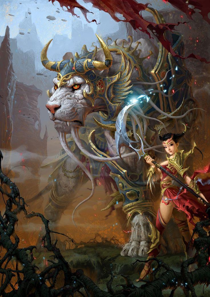 White tiger warrior Picture  (2d, illustration, fantasy, creature, magic, tiger, girl, woman, asian)