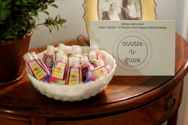 Hand sanitizer as Party Favors - not a bad idea with flu season here!