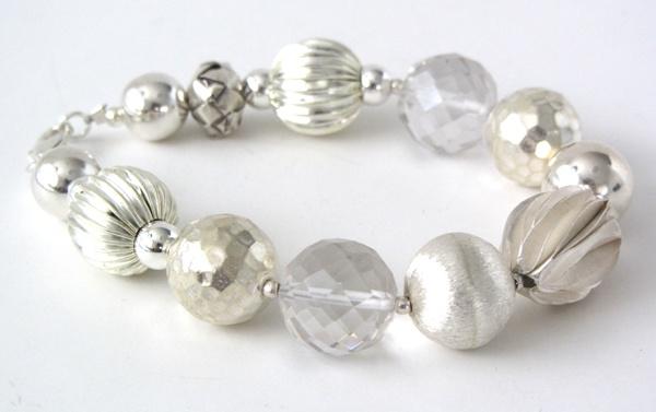 'A Bit of Bling Bracelet' - Sterling silver, Brazilian Crystal Quartz, Thai Hill Tribe handmade sterling silver beads