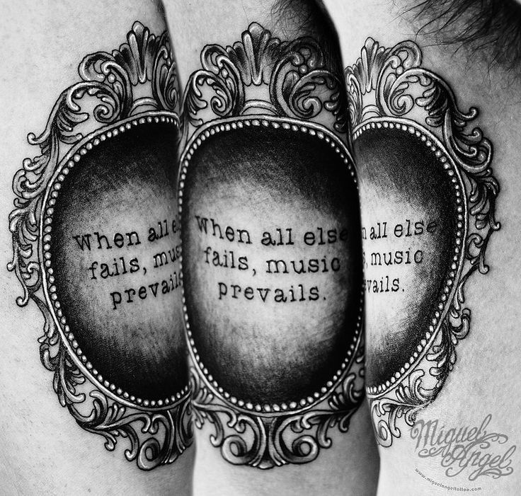 Custom Victorian frame and text tattoo