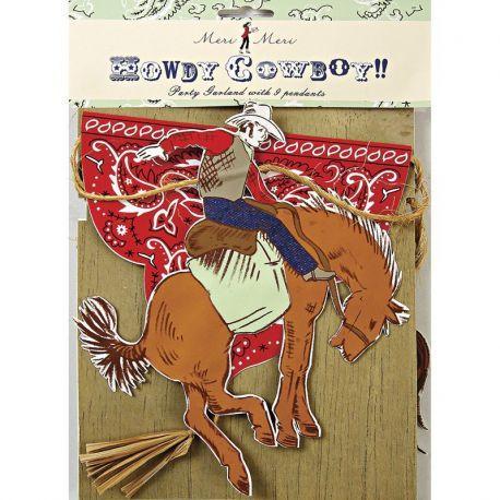 Guirlande cowboy à retrouver sur www.rosecaramelle.fr pour un thème d'anniversaire sur les cowboys.  #cowboy #western #birthday #party #fete #farwest #birthday #anniversaire #deco #vaisselle #decoration #kids #enfants
