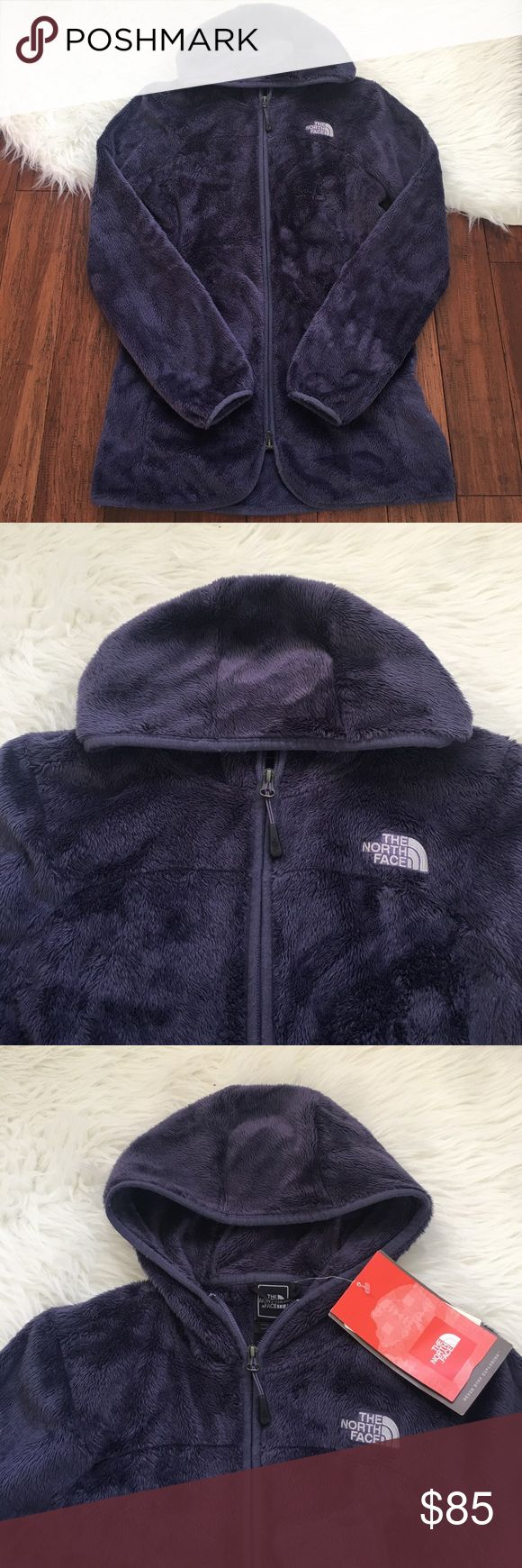 North Face Hooded Fuzzy Grayish Purple Winter Coat Brand new with the tags attached. Never been worn. Features a hood and two front zipper pockets. Tad bit longer than the normal Fuzzy North Face. This jacket is guaranteed to keep you warm! Purplish gray in color. The North Face Jackets & Coats