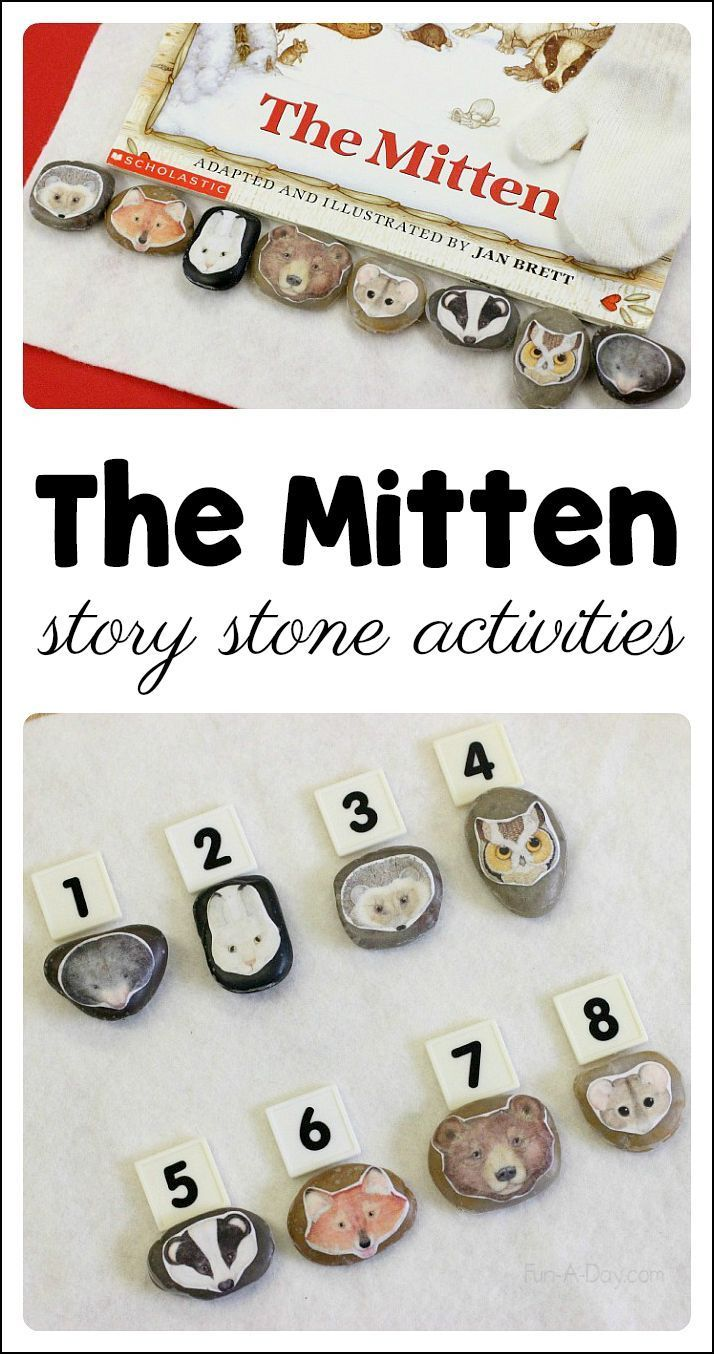Make story stones for kids to retell the story of The Mitten. A great addition to The Mitten activities for preschoolers and kindergartners. #Preschool #Kindergarten #PreschoolActivities #FunADay #Math #MathCenters #Books