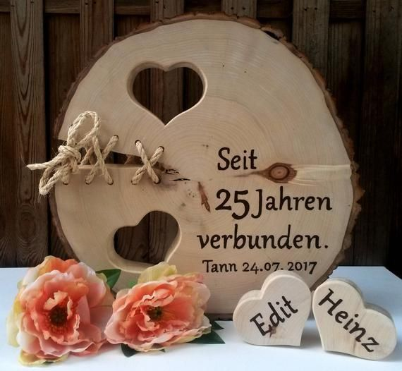 Silber Hochzeit Goldene Hochzeit Baumscheibe 2 Herzen Liebe