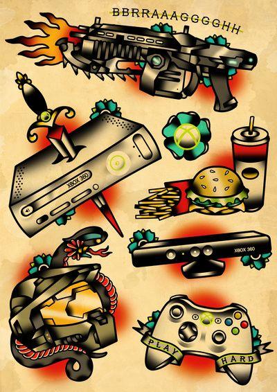 Geek  game X box 360 tattoo flash set Art Print old school fast food sword gun controller Tattoo Flash Art ~A.R.