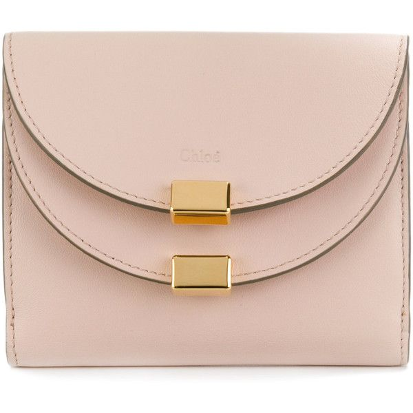 Chloé Georgia bifold wallet ($380) ❤ liked on Polyvore featuring bags, wallets, leather bifold wallet, real leather wallets, leather bags, bi fold leather wallet and billfold wallet
