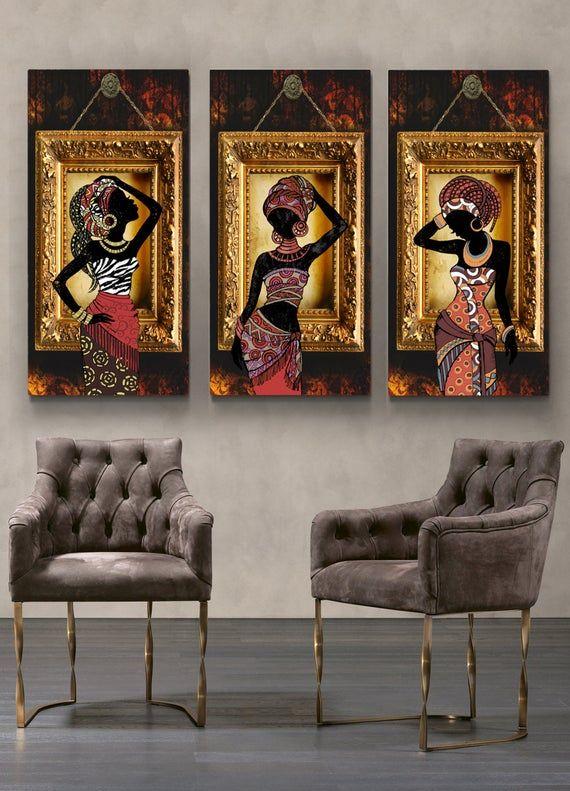 Modern Abstract Prints African Wall Art Set of 3 African Wall Decor Mid Century Modern Prints Tribal Wall Art Set African Woman Prints
