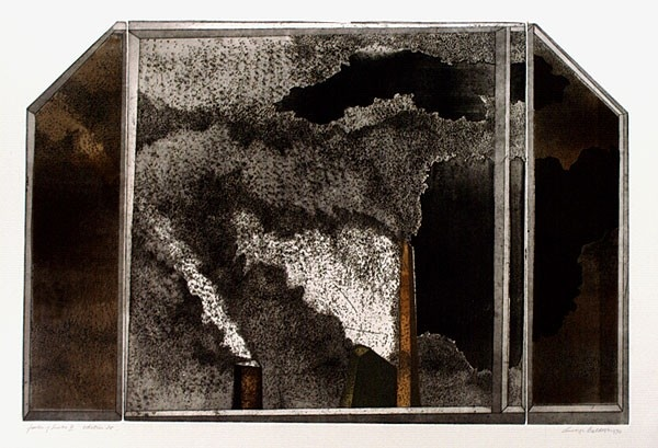 Artist: BALDESSIN, George | Title: Factory smoke III. | Date: 1970 | Technique: colour etching and aquatint printed in intaglio and relief [three plates] |