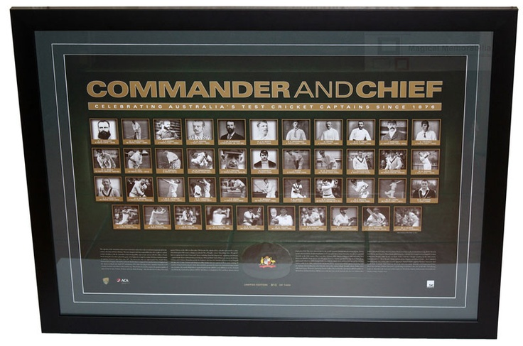 This framed sportsprint commemorates the 43 Captains that have carried the distinction of leading their national cricket team onto the field of battle. It is limited in edition to 1,000 units and is accompanied with a Certificate of Authenticity and licensed by Cricket Australia.