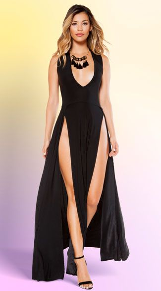 Turn heads in this sexy black maxi dress featuring a deep neckline, thick shoulder straps, and a long skirt with high cut front slits. High Cut Black Maxi Dress, Low Cut Black Dress, High Slit Dress