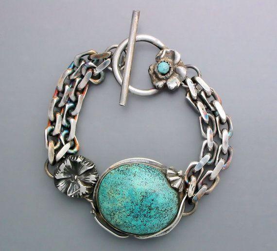Turquoise Flower Bracelet by Temi on Etsy