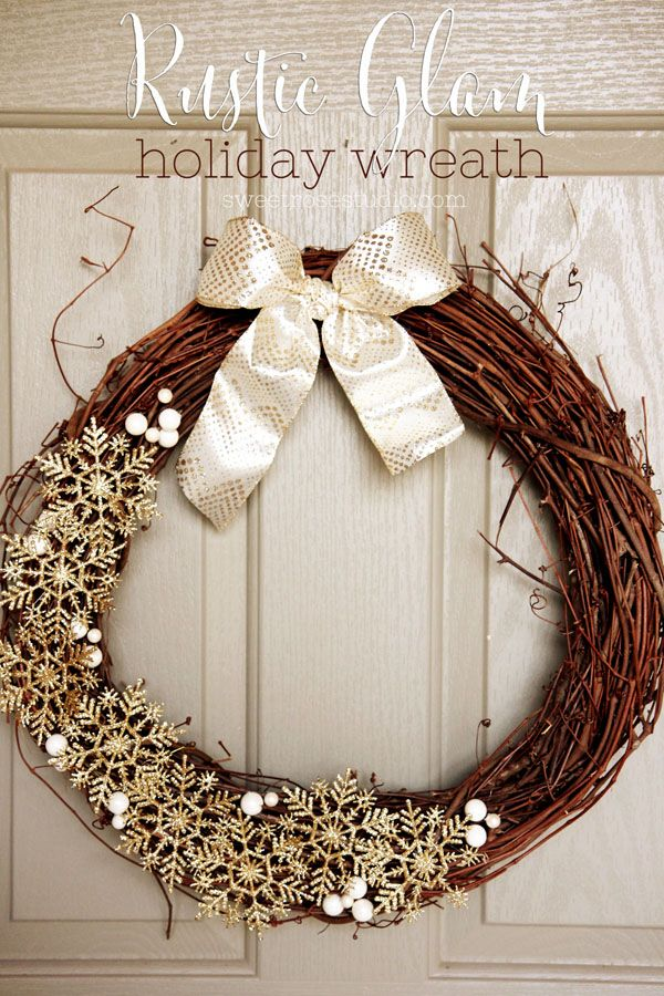 Jazz up your front door with a Rustic Glam Holiday Wreath. This DIY glittery wreath will work perfectly not only for Christmas, but all the way through the holiday and winter seasons!