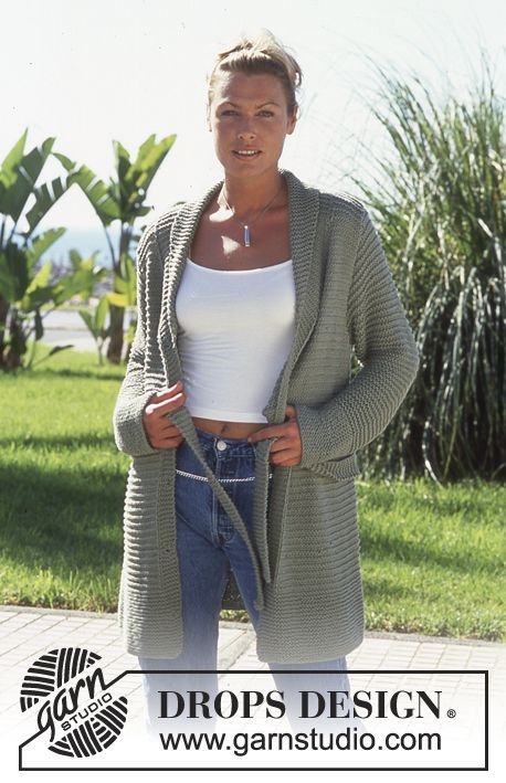 "DROPS 69-8 - DROPS Lange Jacke mit Gurt in ""Paris"" - Free pattern by DROPS Design"