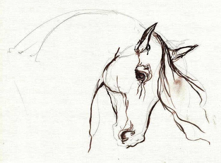 Horse Sketch Painting  - Horse Sketch Fine Art Print