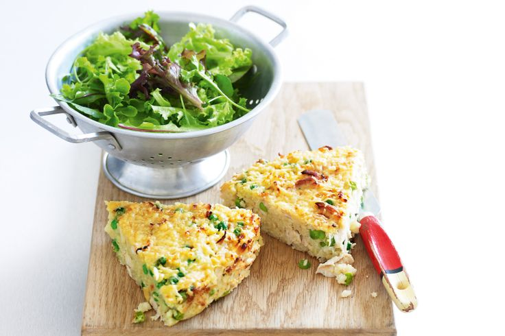 Create flavoursome wedges with sweet peas and a golden crust, then freeze for lunch boxes or a family meal.