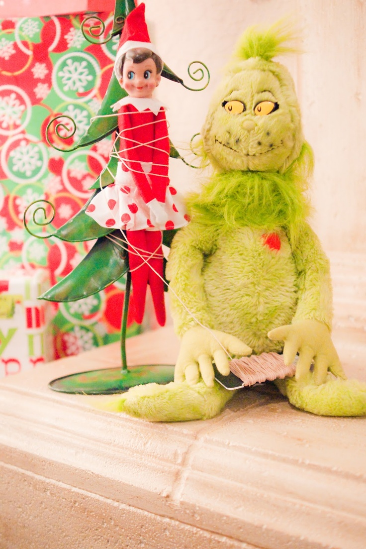 elf on the shelf idea - tied up by Mr. Grinch