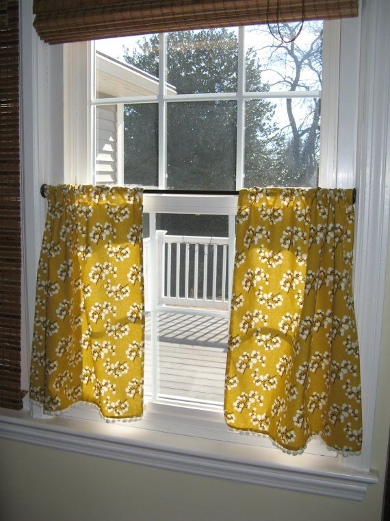 Kitchen Curtains Cafe Dijon Mustard Color With Cotton By QuaintIrenes 7500 Dining Room