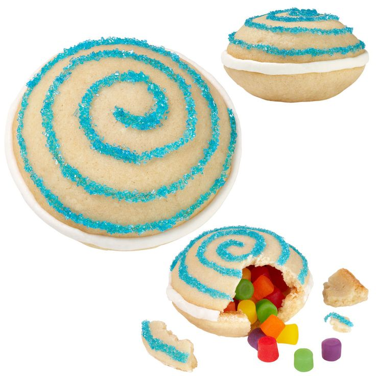 Amaze your family and friends with these magical treats that enclose a sweet cache of jelly candies. Mold these treats with the Mini Round Whoopie Pie Pan and decorate with a sugary swirl!