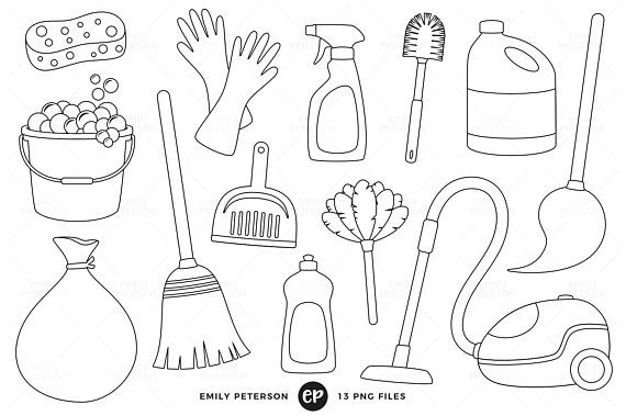 50 Off Sale Spring Cleaning Digital Stamps Chores Line Art