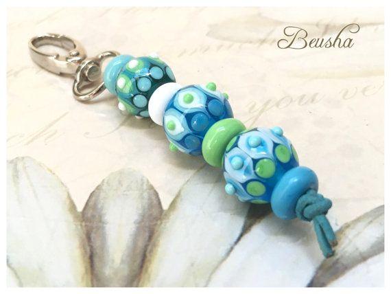 handmade lampwork keychain large glass beads beusha accessories jewelry turquoise aquamarin green white
