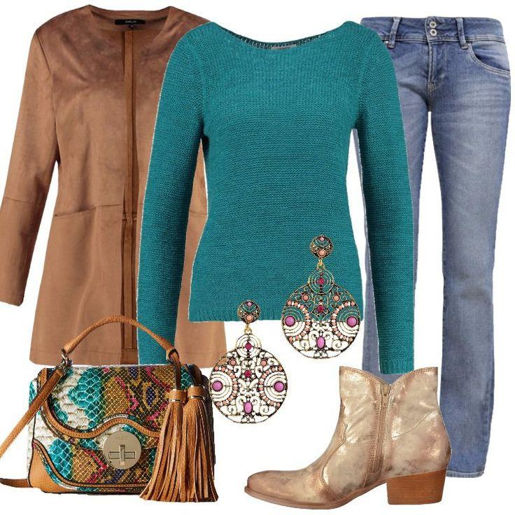 Un+outfit+informale+pensato+per+una+giornata+di+relax:+giacca+leggera+camel,+lunghezza+sulla+coscia,+tasche+anteriori,+abbinata+a+jeans+bootcut,+vita+normale,+multitasche.+Maglione+turquoise,+scollo+tondo,+borsa+a+mano+camel,+in+fantasia+multicolore,+lavorazione+pitonato,+nappine,+stivaletto+texano+antilope+metallizzato,+punta+tonda,+tacco+largo,+cerniera,+orecchini+pendenti+tondi+con+pietre+colorate.