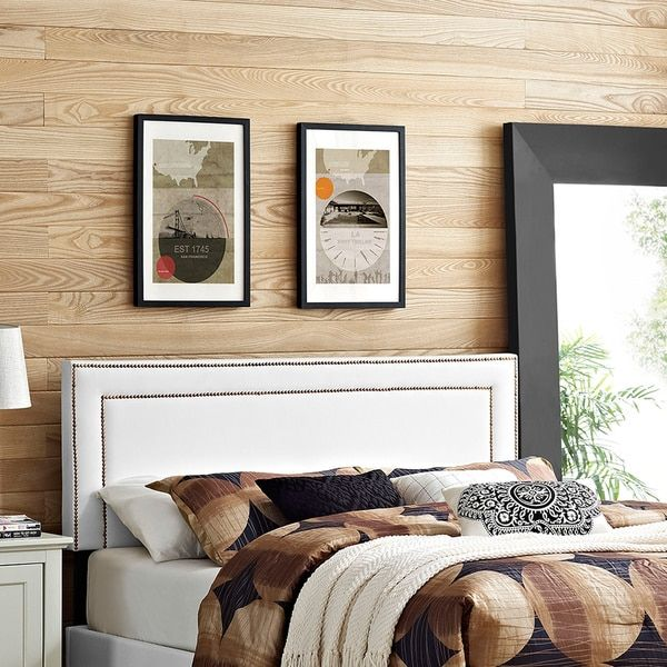 Modway Jessamine White Wood and Vinyl Full Headboard