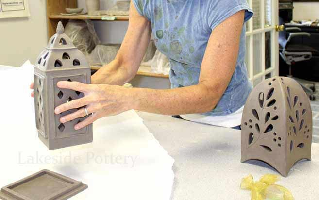 making clay lantern handbuilding class- curving clay