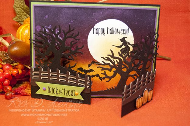 Rick Adkins: Spooky Night Gate Fold Card - Spooky Fun - Halloween Scenes Edgelits - Halloween Night Enamel Dots