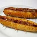 Los plátanos fritos postre Colombiano