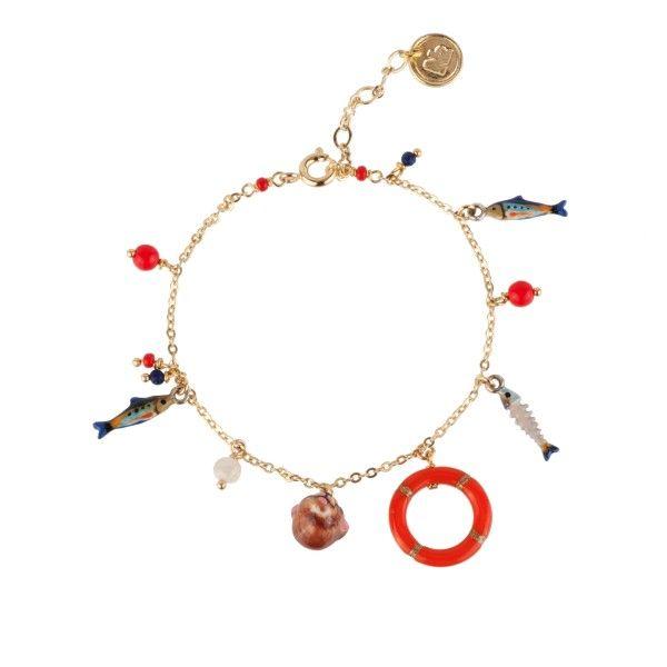 Otter, lifebuoy, sardine and charms bracelet - Les Néréides Paris & N2