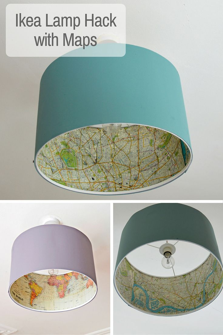 Decoupage your favourite maps onto a Rismon lamp, for a great Ikea lamp hack.                                                                                                                                                                                 Más