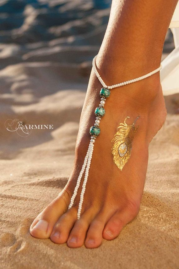 Turquoise barefoot sandals-Beaded Beach wedding by barmine