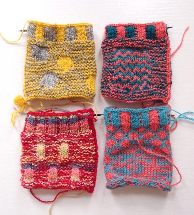 Leeds のワークショップで習った Marlisle のスワッチの Steeking と Knit Outfit Knitting Stitches Crochet
