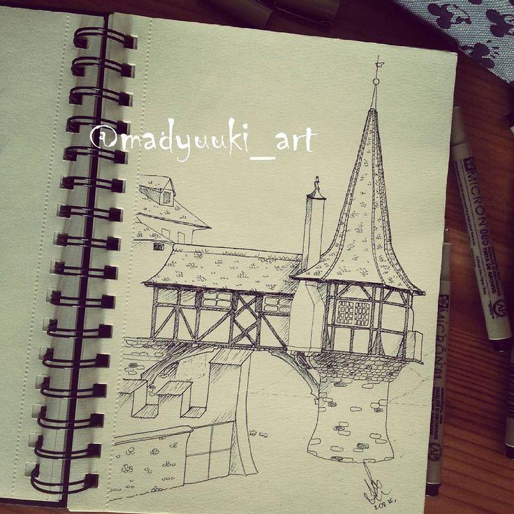oberhofen castle switzerland by @madyuuki_art https://instagram.com/madyuuki_art/ http://yuki-chan-xdxd.deviantart.com/ #madyuuki_art #oberhofen #castle #switzerland #architecture #drawing #drawings #building #buildings #landscape #art #artist #micron #polishartist #good #artdrawingg #art_spotlight #sketch #sketchbook #arqsketch #bestoftheday #bestdrawing #instagood #poland