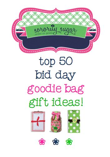 Start with an adorable custom tote, then ADD cute custom treats, for sweet new member goodie bags on bid day! If you need inspiration for new member gifts, check out this list of the top 50 best picks! <3 BLOG LINK: http://sororitysugar.tumblr.com/post/125295118419/building-the-ultimate-bid-day-goodie-bag#notes