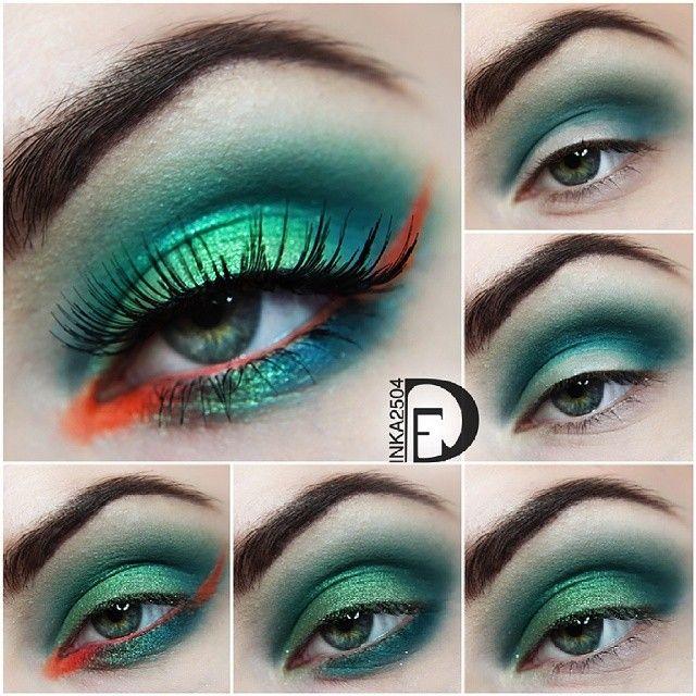 Emerald green and orange eye makeup