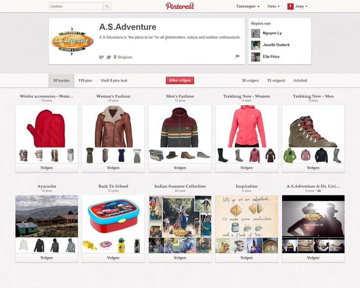 http://pinterest.com/asadventurepin/  In vergelijking met Jack Wolfskin, gebruikt A.S.Adventure Pinterest vooral op een commerciële manier. Maar liefst 7 van de 10 borden tonen hun collectie, de overige gebruiken ze voor foto's en 1 ervan heeft enkel video's.