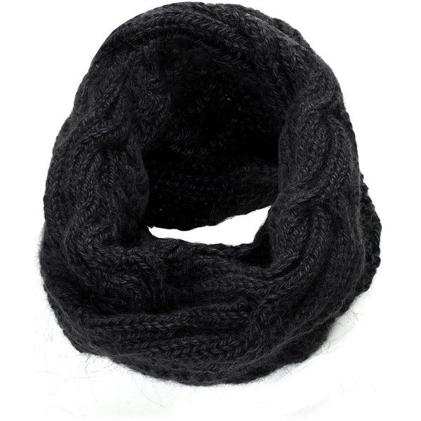 The North Circular Jet Wool Catch Snood ❤ liked on Polyvore featuring accessories, scarves, black, hand knitted scarves, cable knit scarves, hand knit scarves, hand knitted shawl and woolen scarves