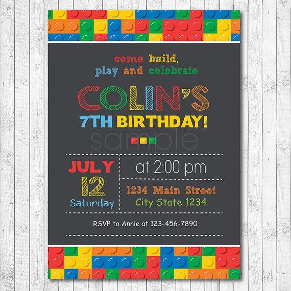 Lego birthday invitation Lego invite Lego party by funkymushrooms