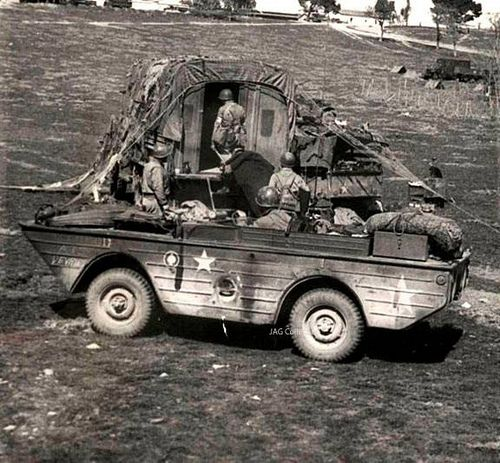 A 1943 photo taken in Tunisia showing a GPA being used as an (amphibious) ambulance to deliver wounded to a field station.