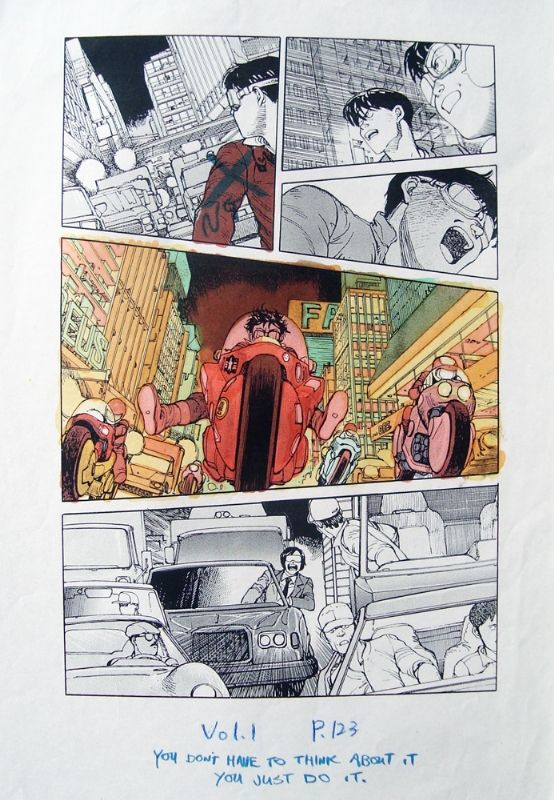 Color guide hand colored by Katsuhiro Otomo himself. Done to give the Akira comic book colorist Steve Oliff an example on how Otomo wanted the look of the book to be colored.