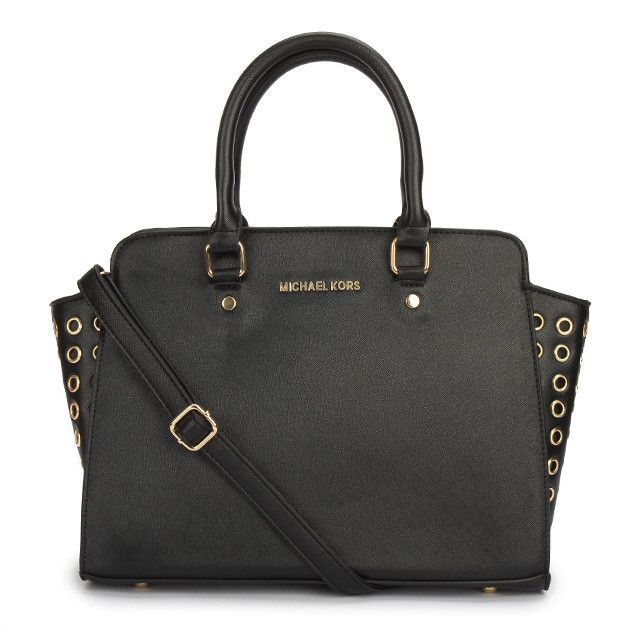 Michael Kors Selma Top-Zip Grommet Large Black Satchels only $72.99