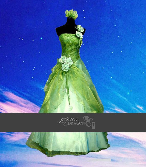 Costume green or purple gown dress fantasy medieval renaissance FAIRY faire wedding victorian flowers faire princess tiana disney cosplay Tink? $380