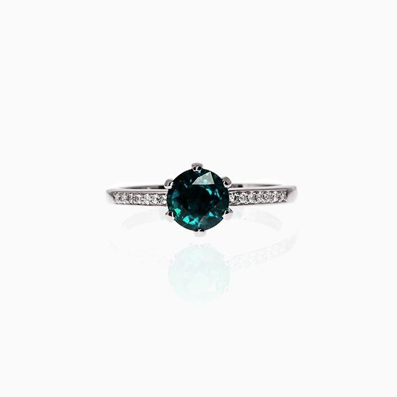 Petite Crown ring with London Blue topaz in Platinum