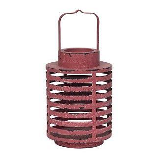 Ronde metalen lantaarn, gestreept opengewerkt. Verweerde look, rood. Ø 18.5 cm, h 27 cm. €19.95