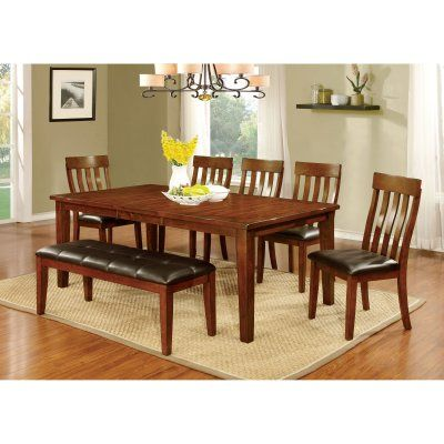 Furniture of America Ginsberg Transitional 6 Piece Dining Table Set - IDF-3914T-6PC