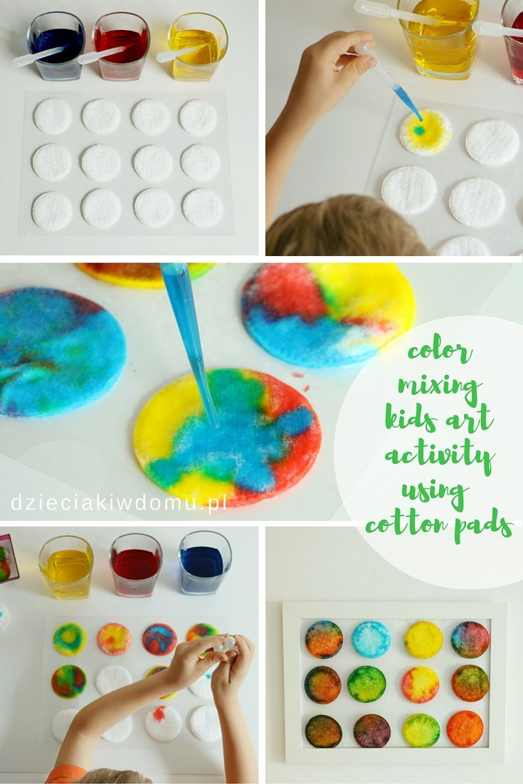 color mixing kids art activity with cotton pads