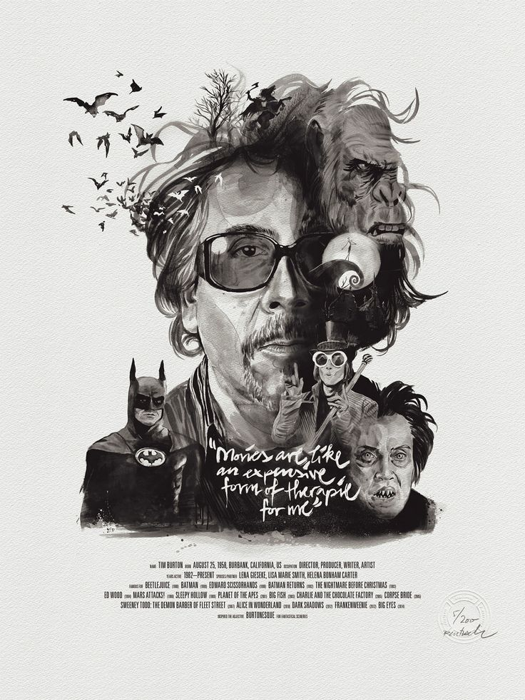 tim burton - Movie director portraits created through their movies