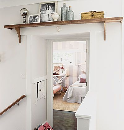 Love the shelf atop the doorway.: The Doors, New Houses, Living Rooms, Decor Ideas, Laundry Rooms, Doors Frames, Doorway Shelf, Doors Shelf, Doors Shelves