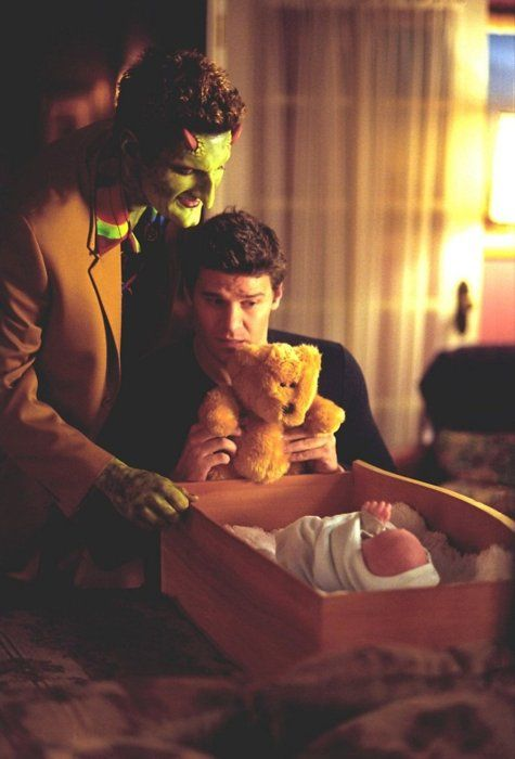 """Angel - Lorne and baby Connor - I love this pic♥. Too bad they went the """"baby magically fully matures crazy fast trope"""" route."""